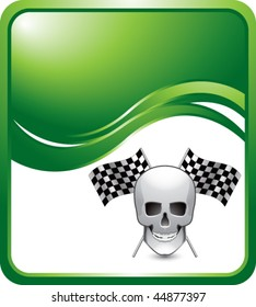 skull and racing flags green wave backdrop