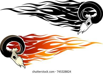 Skull Ram Side Flaming Set