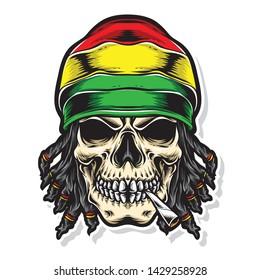skull rasta vector and logo