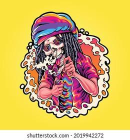 skull rastaman smoke weed illustration