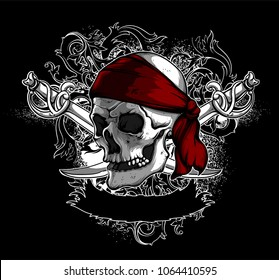 A skull in a red armband with sabers against the backdrop of decorative elements. Highly detailed realistic illustration. Can be used as an image on T-shirts.
