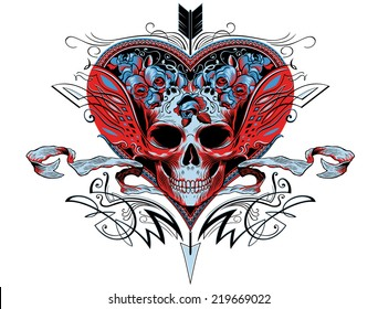 Skull in a red heart graphic with flourishes, roses and an arrow puncturing the heart