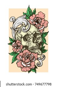 Skull with red peonies or roses flowers, fretwork. Hand drawn vintage vector Dotwork Illustration. Graphic sketch for tattoo, poster, clothes, t-shirt design, pins, badges, stickers and coloring book