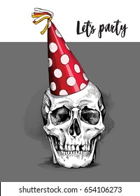Skull in a red polka dot Party hat. Vector illustration.