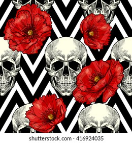 Skull and red poppies  on a geometric background. Vector seamless pattern.
