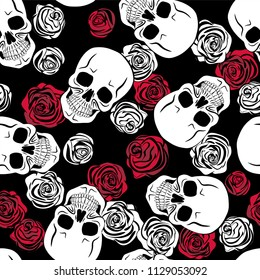 Skull, red roses and white roses. Seamless pattern. Vector illustration