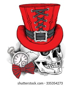 Skull in a red steampunk top hat and with watch. Vector illustration.