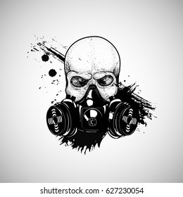 Skull with respirator, gas mask, t-shirt design dead respirator.