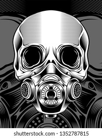 skull with respirator.vector hand drawing,Shirt designs, biker, dj, gentleman, barber and many others. isolated and easy to edit. Vector Illustration - Vector
