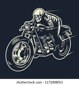 skull ride the cafe racer motorcycle