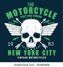 skull ride a classic motorcycle.  t-shirt graphics, vectors
