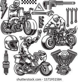 Skull ride motorcycle and icon of automotive in black and white drawing