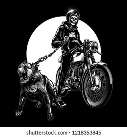 skull riders with vintage motorcycle