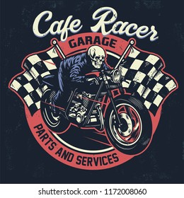 skull riding  cafe racer motorcycle in textured vintage design