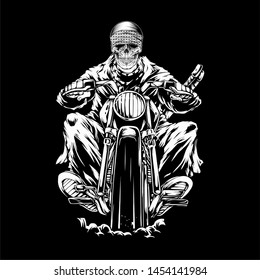 skull riding a motorcycle skull riding a motorcycle.vector hand drawing,Shirt designs, biker, disk jockey, gentleman, barber and many others.isolated and easy to edit. Vector Illustration