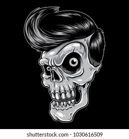 Skull with rockabilly hair style.