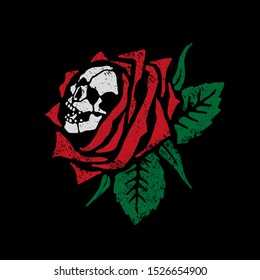 Skull in a rose. Design for printing on t-shirts, stickers and more. Vector.