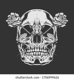 skull rose illustration with detailed engraving style