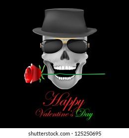 skull & rose on dark background.