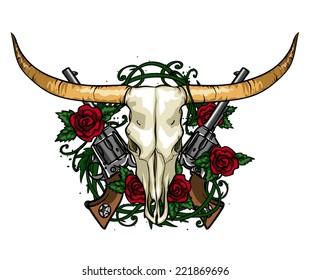 Skull and Roses label design.
