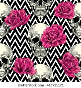 Skull and  roses on a geometric background.  Vector seamless pattern