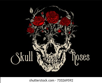 Skull Roses. Red wild roses growing on a skull. Vintage tattoo style vector illustration on black background.