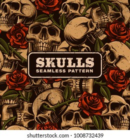 Skull with roses seamless pattern. Tattoo seamless background. Perfect for textile design.