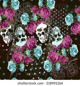 Skull and roses seamless vector background.