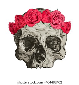 Skull and roses. Vector illustration