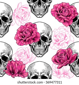 Skull and roses .Vector seamless pattern