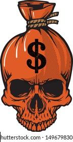 Skull sack dollar creepy money