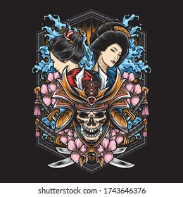 skull samurai with geisha vector illustration