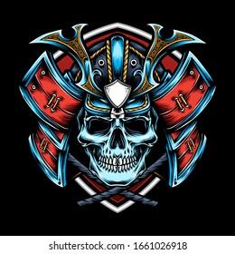 skull with samurai helmet vector