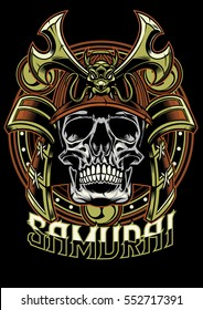 Skull of samurai warrior
