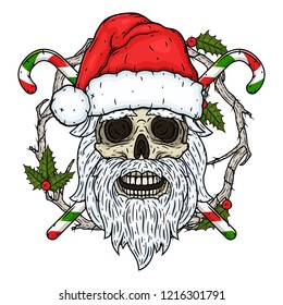 Skull. The skull of Santa Claus in the background of the branches of the mistletoe and crossed candies. Santa claus skull. Cartoon skull.