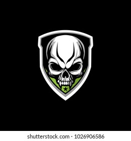 skull with shield modern vector logo template