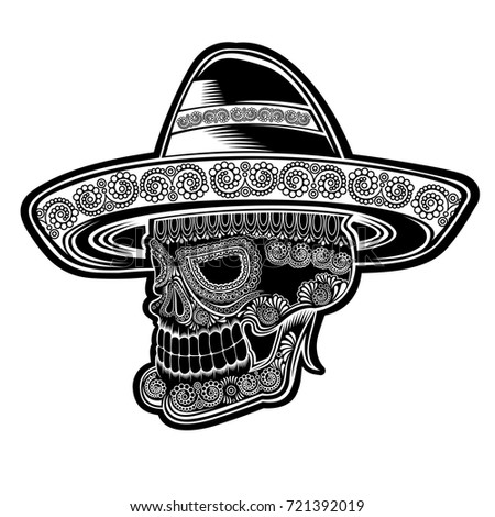 Skull side view with mexican hat and pattern on face symbol of Día de  Muertos holiday. Monochrome illustration isolated on white - Vector 51a4f7e4679