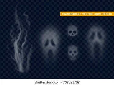 Skull silhouette. Face of ghost on transparent background.