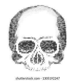 Skull Silhouette from Numbers 0 and 1. ASCII Art. Computer Virus,, Hacking, DDOS and Spam Concept