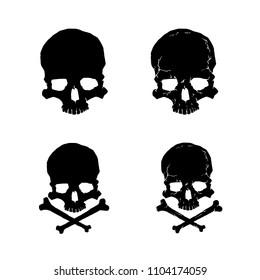 Skull silhouette vector set. Skull and crossbones isolated on white.