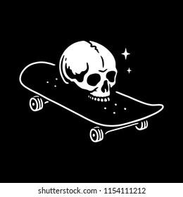 SKULL WITH SKATEBOARD LOGO WHITE BLACK