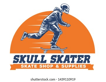 skull skateboard ride in logo stye
