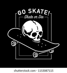 SKULL WITH SKATEBOARD SKATE OR DIE LOGO PATCH BADGE WHITE BLACK