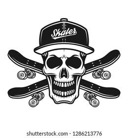 Skull of skater in baseball cap or snapback and two crossed skateboards vector black illustration isolated on white background