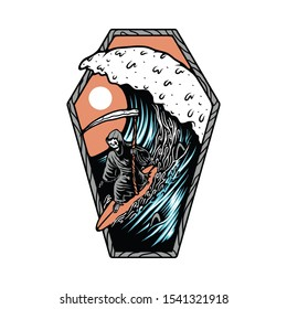 Skull Skeleton Death Summer Beach Surfing Graphic Illustration Vector Art T-shirt Design