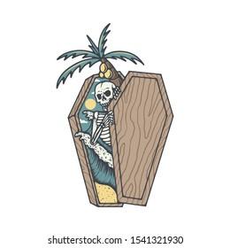 Skull Skeleton Death Summer Beach Graphic Illustration Vector Art T-shirt Design
