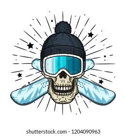 Skull in ski goggles, black cap and crossed snowboard. Cartoon skull