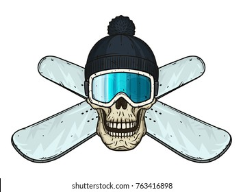 Skull in ski goggles, hat and crossed snowboard. Cartoon skull
