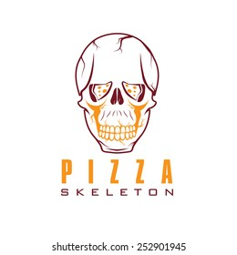 skull with slice of pizza