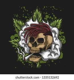 Skull Smoke Cannabis Vector illustration for your company or brand